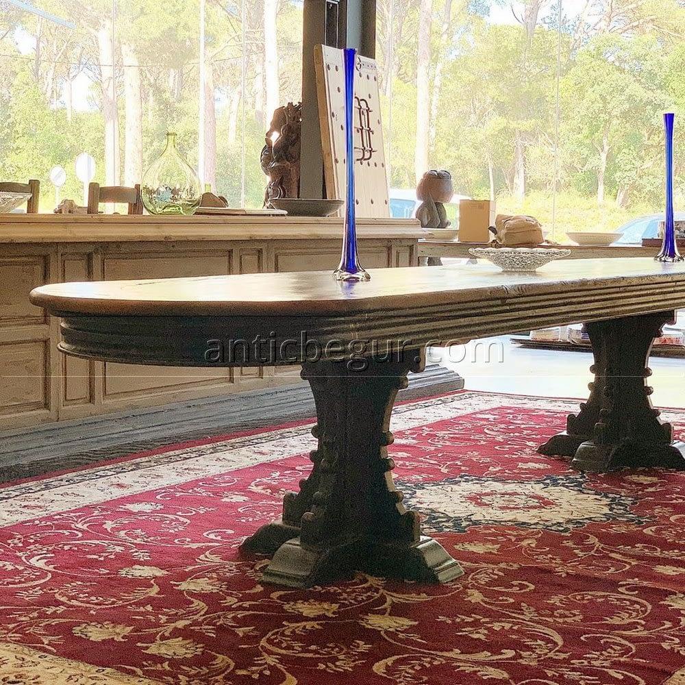 Mesa madera maciza restaurada Anticuario Begur
