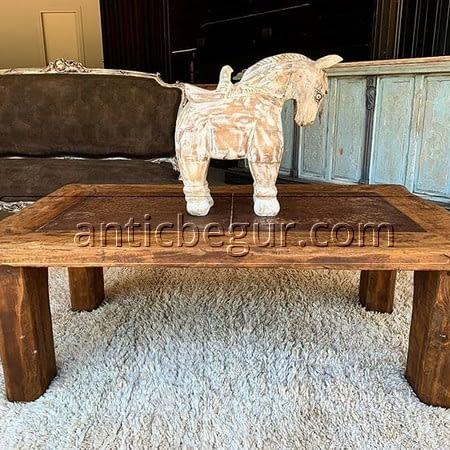 Mesa auxiliar madera roble recuperada Antic Begur