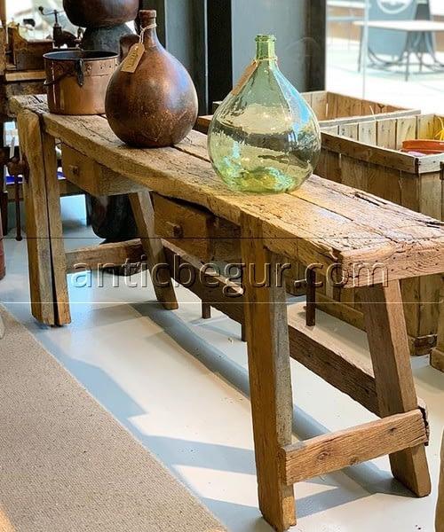 banco carpintero original roble milenario antic-begur