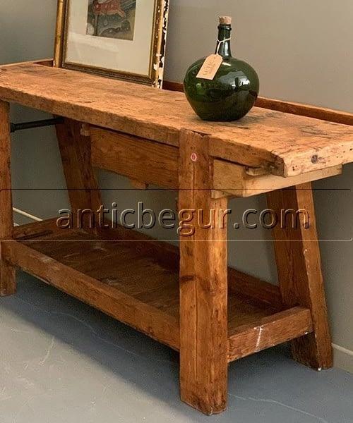 mesa carpintero madera pino tecuperada  ANTIC BEGUR